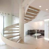 Wholesale Modern design staircase round rod guard rail solid wood curved stair for indoor home decorative from china suppliers