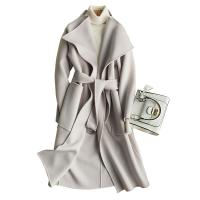 China Medium Double Faced Wool Blend Winter Coat For Women with Metal Circular Ring Belt on sale