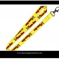 Buy cheap custom heat transfer logo yellow polyester lanyard strap with plastic buckle from wholesalers