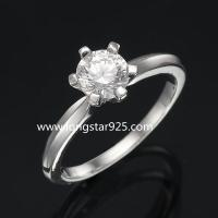 Buy cheap 925 silver single stone cz rings, wedding rings, engagement rings from wholesalers