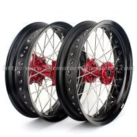 Buy cheap CNC Anodized17 Inch Dirt Bike Supermoto Wheels With Spokes Rims Hubs 36 Holes from wholesalers