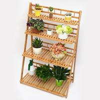 Buy cheap Customized Foldable Wooden Plant Stand , 4 Layer Bamboo Plant Pot Holder from wholesalers