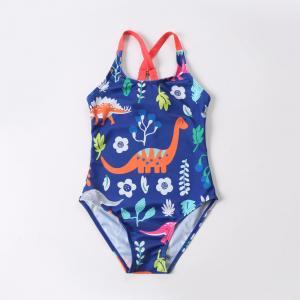 China Girl's Criss Cross Seam with dinosaur print one piece swimwear on sale