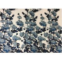 Buy cheap Bule Floral Embroidered Polyester Net Lace Fabric For Wedding Gown Dresses from wholesalers