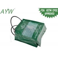 Buy cheap Portable Plastic Flat Bottom Tote Bag Promotional Shopping With Green Side Gusset from wholesalers
