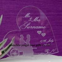 Buy cheap Beautiful Engraved Acrylic Heart -Personalised Wedding cake topper from wholesalers