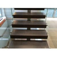 Buy cheap modern steel railing designs with tempered glass railing black color from wholesalers