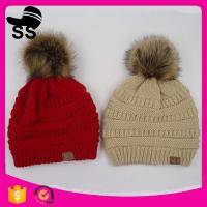 Wholesale 2017 fashion 21*25+10cm 120g 100%Acrylic factory winter pom pom knitting custom snapback beanie caps hats from china suppliers