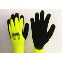 Buy cheap Fluorescent Yellow Latex Palm Coated Gloves , Rubber Coated Gloves Knit Wrist Type from wholesalers