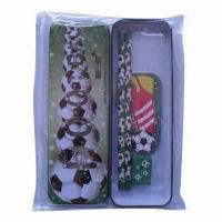 Buy cheap Football designed tin pencil case set from wholesalers