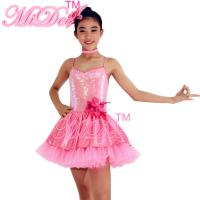 Buy cheap Tiered Dance Competition Costumes Glitter Short V Neck Dress Artificial Flower Side Waist from wholesalers