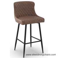 Buy cheap Brown Upholstered 105cm Synthetic Leather Counter Height Bar Stools With Backs from wholesalers