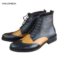 Buy cheap Bespoke good quality pure Handmade lace up goodyear boots genuine leather brogue style for men EUR size 37-48 from wholesalers