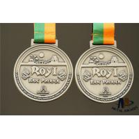 Buy cheap Personalized Dragon Engraved Medals Antique Silver Plated With Woven Ribbon Medailles from wholesalers