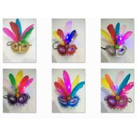 Halloween Christmas Venetian Carnival Half Face Feather LED Light Party Mask Manufactures