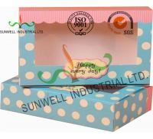 China UV Coating Paper Egg Tart Take Away Food Packaging Boxes Gold Stamping on sale