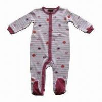 Buy cheap Baby Rompers, Made of 100% Cotton Interlock, with Feet and Long Sleeve, Available in Various Styles from wholesalers