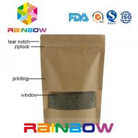China Brown Kraft Paper Customized Paper Bags Doypack Ziplock Dry Food Packaging Bag With Window on sale