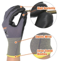 Buy cheap Grey Nylon Light Black Palm Recycled Work Nitrile Gloves from wholesalers
