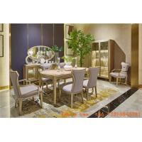 Buy cheap Light luxury dining room furniture Nice wood table with Leather dining chairs for Villa home interior design furniture from wholesalers