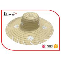China Customized embroidery wide brim sun hat , womens straw floppy hat on sale