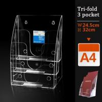 Buy cheap A4  3 pocket acrylic brochure holder,LEAFLET STANDS PLASTIC HOLDER ACRYLIC FLYER from wholesalers