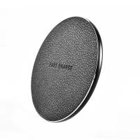 Buy cheap Fashionable Round PU Leather Desktop Wireless Phone Charger 5V 2A 9V 1.67A Input from wholesalers