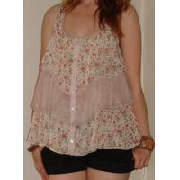 Buy cheap Custom Womens Clothing Double Layer, Printing Short Sleeve Top from wholesalers