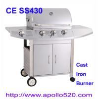Wholesale Outdoors Gas Grill cast iron 3burner plus side burner from china suppliers