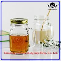 Buy cheap Glass cup /12oz glass mason jar with handle, metal lid and straw from wholesalers