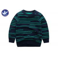 Buy cheap Irregular Stripes Boys Knit Pullover Sweater Crew Neck Double Layer Warm from wholesalers