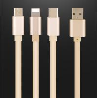 Buy cheap Durable 5V2.4A fast charging 1m/3ft TPE 3 in 1 usb data cable for iphone Sumsang mobiles from wholesalers
