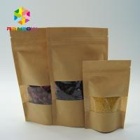 Buy cheap Eco - Friendly Printed Paper Stand Up Pouches With Clear Window And Zipper from wholesalers