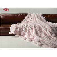 Buy cheap Rabbit Faux Animal Fur Blanket Throw Pink Warm Cozy Cover With Pompoms Fringe Solid from wholesalers