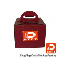 Buy cheap Recycled Cardboard 6 Inch Cake Packaging Boxes , Red Handmade Cake Box With Handle from wholesalers