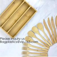 Buy cheap 12-Piece Reusable Bamboo Flatware Set with Portable Storage Case,Chopping Board,Cheese Board,Pizza Board,Drawer Organzie from wholesalers