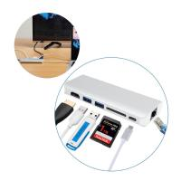 Buy cheap Multiport USB-C Hub with Type C pass-through charging,adapting USB 3.1 Type C to LAN HDMI 2 USB 3.0 Type A SD Card slot from wholesalers