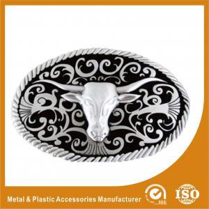 Wholesale Zinc Alloy Goat Head Cowboy Custom Belt Buckles Polishing , Powder Coating from china suppliers