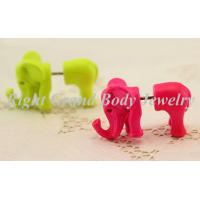 Quality Green Pink Fake Ear Plug Earrings With Alloy Elephant For Girls for sale
