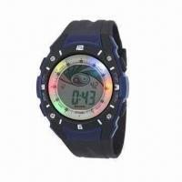 Buy cheap Revolving light sports watch for gents with stopwatch, Taiwan movement, 3ATM water-resistant from wholesalers