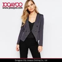 Buy cheap Ladies Textured Collarless Office Wear Cropped Blazer in Charcoal from wholesalers