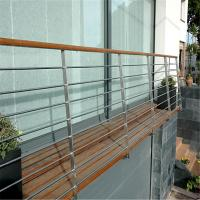 Buy cheap Outdoor metal railing systems with oak wooden handrail design from wholesalers