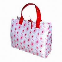 Printed nylon tote bag with patent PVC handles/ribbon, magnetic closure and 190T lining Manufactures