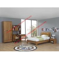 Buy cheap Bachelor room interior furniture fixture equitment by small size rubber solid wood bed and reading bookcase set from wholesalers