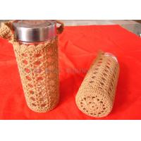 Buy cheap Orange Handles Cotton Crochet Cup Cozy Hollow Out , Handmade Knitted Cup Sleeve from wholesalers