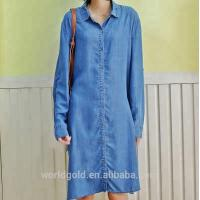 Buy cheap Roll Up Sleeves Women Denim Blouses And Tops , Casual Oversized Denim Dress from wholesalers
