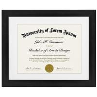 Buy cheap Black Certificate Document Frame , 11x14 Certificate Frame With Dispensable Mat from wholesalers