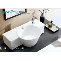 Buy cheap Round Counter Top Wash Basin / Ceramic Vanity Bowl Bathroom Water Absorption from wholesalers