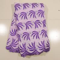 Purple Swiss Cotton Voile Lace , 130 - 135cm Width  Customized For Wedding Dress Manufactures