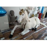 Buy cheap Sitting Style Window Display Decorations Fiberglass Unicorn Statue With Fake Hair from wholesalers